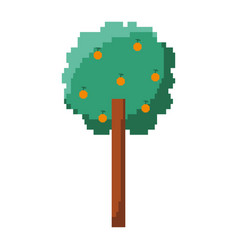 Pixelated tree with fruits nature ecology vector