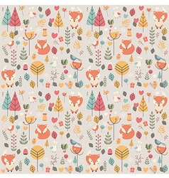 Seamless pattern with cute Christmas baby fox vector image