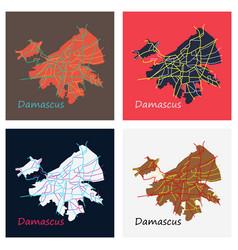 set of flat map design - damascus city vector image