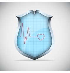 Shield with pulse vector image vector image