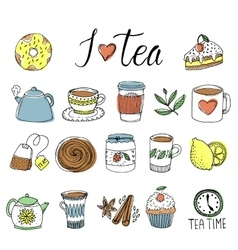Tea Hand Drawn Elements Set vector image vector image