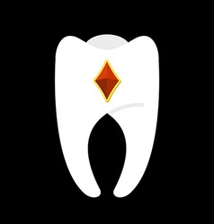 Tooth with diamonds White clean tooth with gem vector image