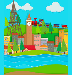 Train ride passing cirty buildings vector