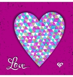 Valentines card with heart made of hand drawn on vector image vector image