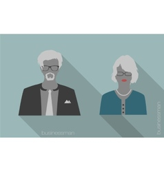 Woman and man businessman icons vector