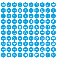 100 road icons set blue vector