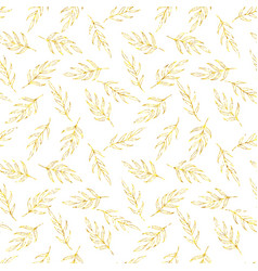 Seamless pattern gold glitter leaves vector image