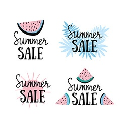 Summer labels with hand drawn slices of watermelon vector