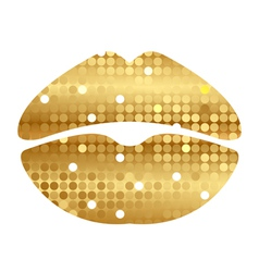 Gold shiny lips vector