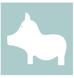 Pig the white color icon vector