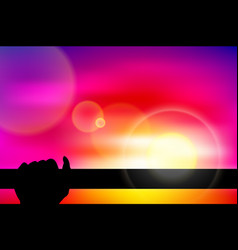 Twilight silhouette hand hold a bar vector