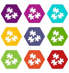 puzzle icon set color hexahedron vector image