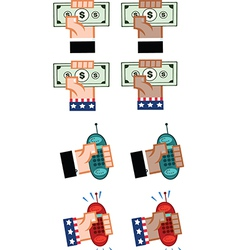 Hand holding cash and mobile phone vector image