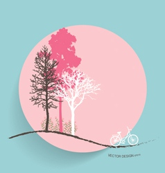 Cute card with trees background vector