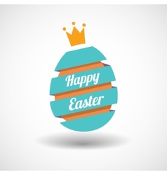 Happy easter egg ribbon and golden egg vector