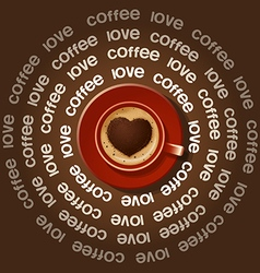 Red cup of heart in cappuccino vector