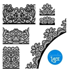 Lace border set vector