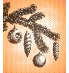 Christmas decoration on a christmas tree sketch vector
