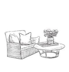 Room interior sketch hand drawn chair and table vector