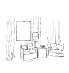 Room interior sketch hand drawn chairs vector