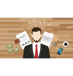 Business manager businessman with graph data vector