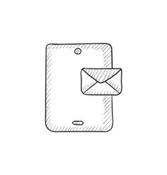 Digital tablet with message sketch icon vector