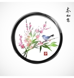 Sakura in blossom bamboo branch and blue bird vector image