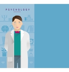 A young guy in a white coat psychologist vector