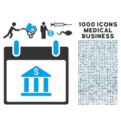 Bank building calendar day icon with 1000 medical vector