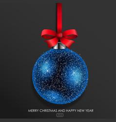 blue glass christmas ball vector image