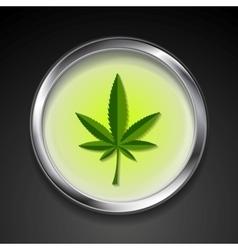 Cannabis icon on metal button vector