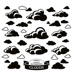 Collection of different cloud icons vector image vector image