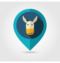 Donkey flat pin map icon Animal head vector image