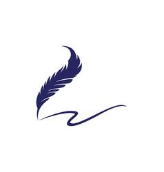 feather pen logo template vector image vector image