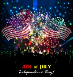Fourth of july with firework background vector