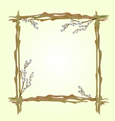 Frame pussy willow branch spring background vector