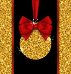 Glitter card with christmas ball with golden vector