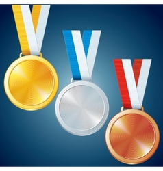 Golden Silver and Bronze Medals Set vector image