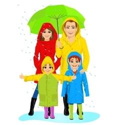Happy familt in raincoats standing with umbrella vector