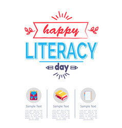 Happy literacy day poster with icons of stationery vector