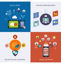 Icons for social network vector image vector image