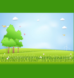 Landscape mound and trees background paper art vector