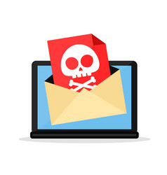 letter with a computer virus in laptop vector image vector image