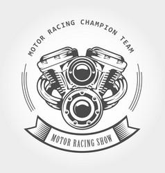 motorcycle engine - chopper motor bike emblem vector image
