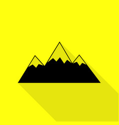 Mountain sign black icon with flat vector