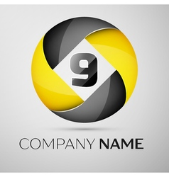 Number nine logo symbol in the colorful circle vector