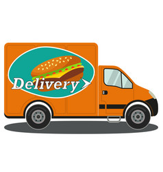 orange delivery truck side view burger poster vector image