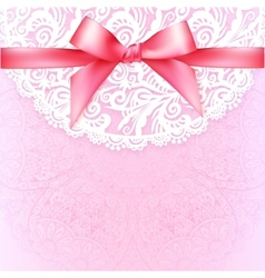 Pink lacy vintage wedding greeting card template vector