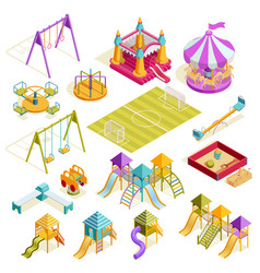 Playground isometric collection vector