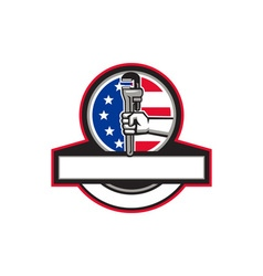 Plumber hand holding pipe wrench flag circle vector